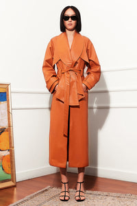 Shawl Collar Eco Leather Trench Coat