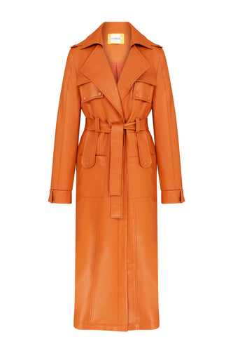 Neo Classic Eco Leather Trench Coat