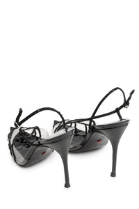 PVC Heart Slingbacks - Black