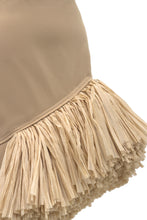 Load image into Gallery viewer, Asymmetric Raffia Fringe Skirt - Beige