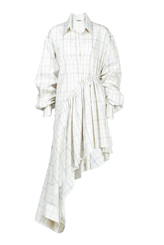Asymmetric Cotton Shirtdress - Plaid