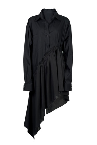 Asymmetric Cotton Shirtdress - Black