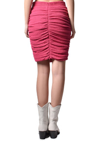 Ruched Textured Cotton Skirt