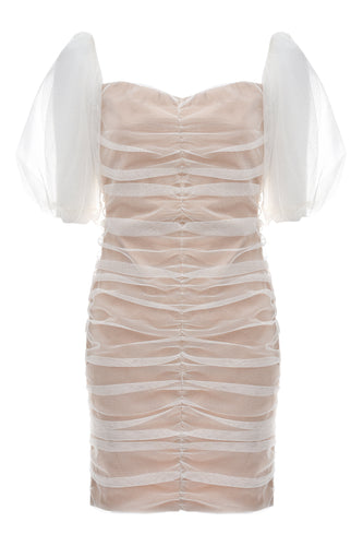 Ruched Tulle Glitter Dress