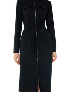 Andrea Zip Front Wool Dress