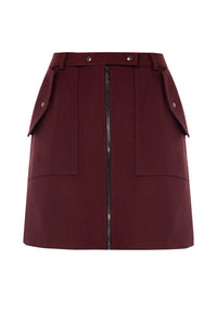 Kourtney Wool Mini Skirt - Ruby
