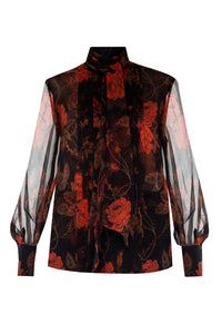 Lelia Silk Scarf Blouse - Ruby