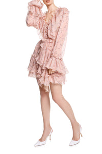 Ruffled V Neck Chiffon Dress