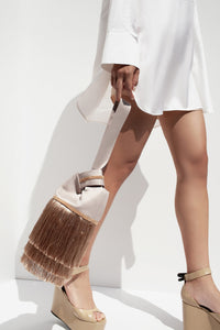 Ravel Beaded Fringe Bag - Beige