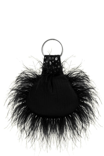 Shell Beaded Feather Bag - Black