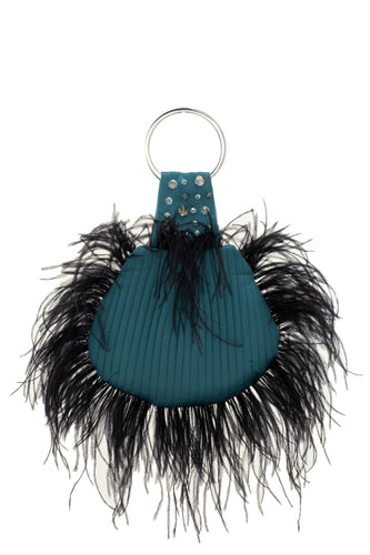 Shell Beaded Feather Bag - Teal