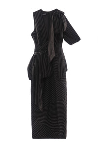 Draped Pinstripe Dress
