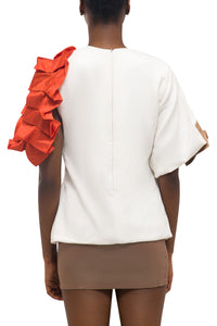 Pleated Ribbon Top - White