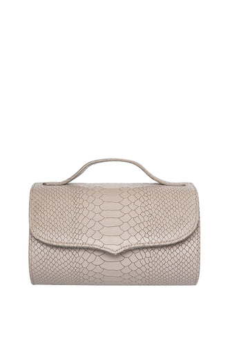 Cylinder Shoulder Bag - Beige Snake