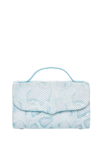 Cylinder Shoulder Bag - Baby Blue Snake