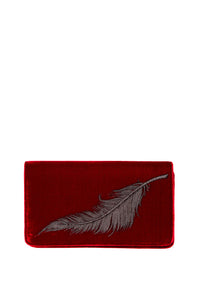 Velvet Feather Clutch - Red with Grey Feather