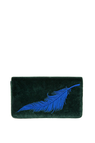 Velvet Feather Clutch - Green with Blue Feather