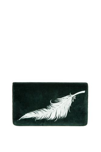 Velvet Feather Clutch - Green with White Feather