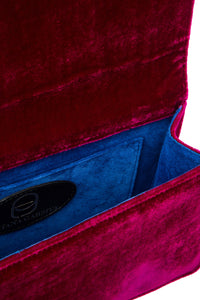 Velvet Feather Clutch - Magenta with Grey Feather