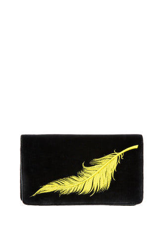 Velvet Feather Clutch - Black with Yellow Feather