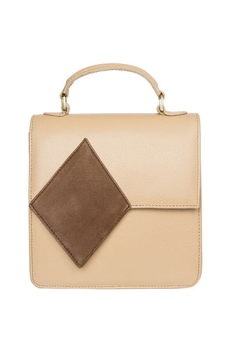 Diamond Accent Shoulder Bag - Beige