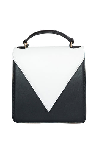 Triangle Flap Shoulder Bag - Black/White