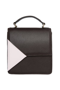 Triangle Accent Shoulder Bag - Black/Pink