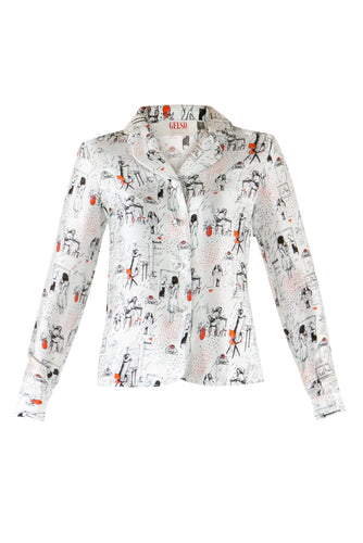 Women Print Silk Pajama Shirt