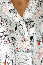 Load image into Gallery viewer, Women Print Silk Pajama Shirt