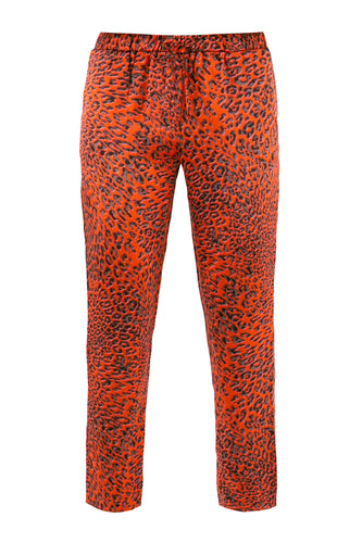 Red Leopard Silk Pajama Pants