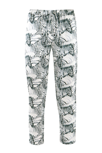 White Zebra Silk Pajama Pants