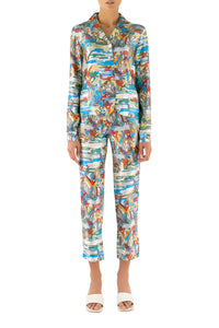 Swamp Print Silk Pajama Shirt