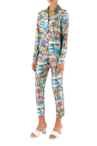 Swamp Print Silk Pajama Pants