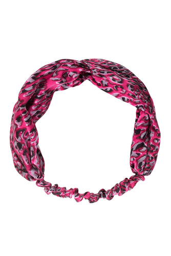Pink Leopard Silk Head Band