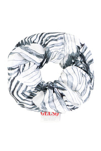 White Zebra Silk Scrunchie