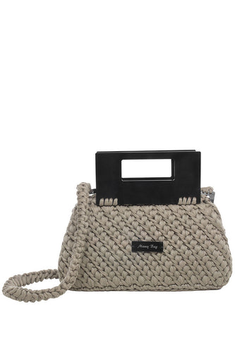 Plexiglass Top Handle Knit Bag - Taupe