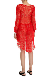 High Low Open Weave Sweater Dress