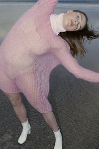Open Weave Turtleneck Knit Dress - Pink