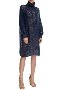 Open Weave Turtleneck Knit Dress - Navy