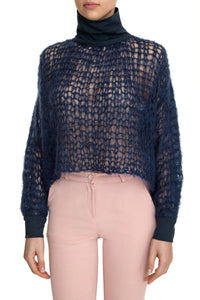 Open Weave Turtleneck - Navy