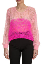 Load image into Gallery viewer, Open Weave V Neck Sweater - Pink