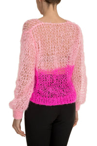 Open Weave V Neck Sweater - Pink