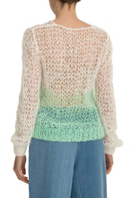 Load image into Gallery viewer, Open Weave V Neck Sweater - Green