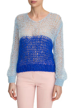 Load image into Gallery viewer, Open Weave V Neck Sweater - Blue