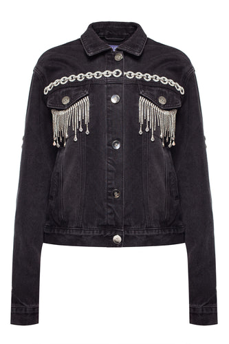 Cropped Crystal Fringe Denim Jacket