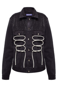 Crystals Rope Front Denim Jacket - Black