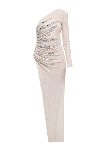 One Shoulder Crystal Flame Gown