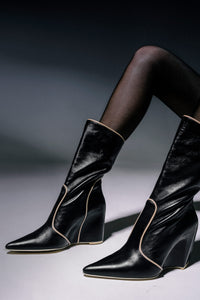 Piped Wedge Heel Boots