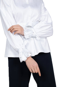 Belted Accent Sleeve Shirt - White