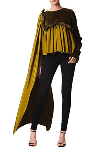 Velvet Cape Blouse